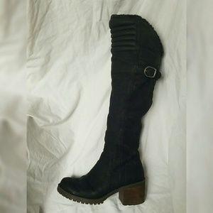 LUCKY BRAND Black Suede OTK Moto Boots, sz 7.5M